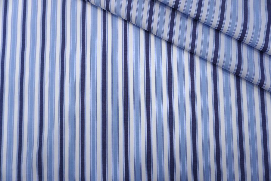 Поплин рубашечный бело-голубой в полоску PRT-G5 25042003