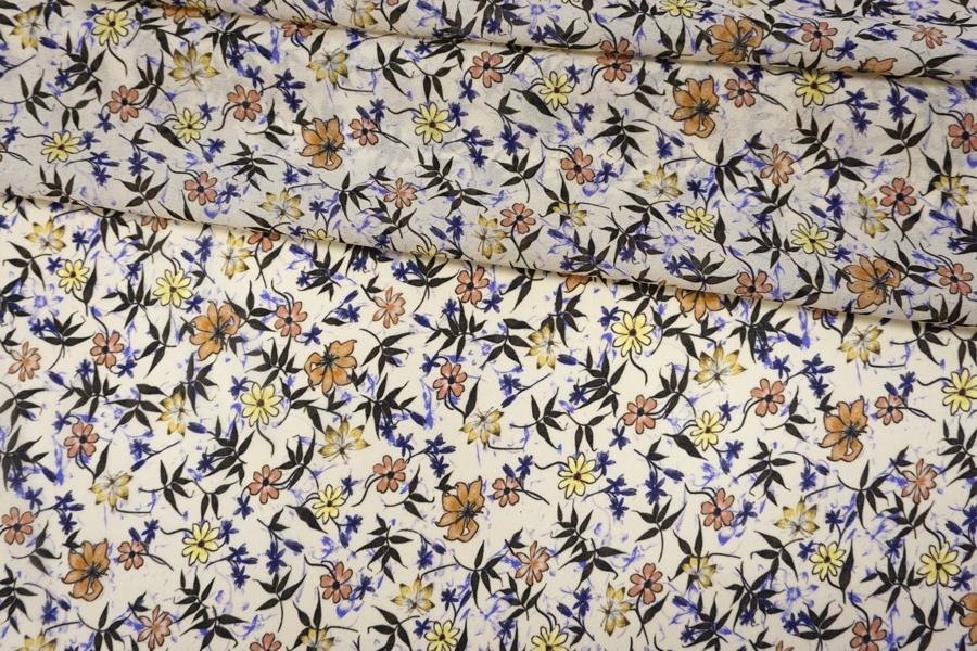Креп-шифон вискозный цветы на бледно-желтом PRT-H3 20012016