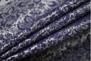 Подкладочная вискоза серо-синяя абстрактные цветы SF-B2 18122009
