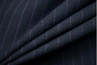 Тонкая костюмно-плательная шерсть синяя в полоску SR.H-CC40 23122014