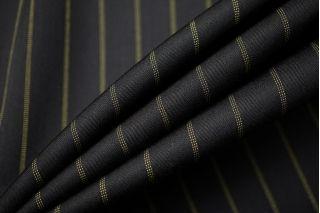 Тонкая костюмно-плательная шерсть черная в салатовую полоску SR-C3 23122019