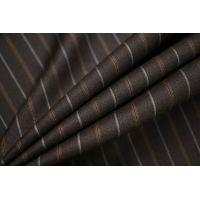 Тонкая костюмно-плательная шерсть коричневая в полоску SR.H-C3 23122021