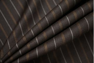 Тонкая костюмно-плательная шерсть коричневая в полоску SR-C3 23122021