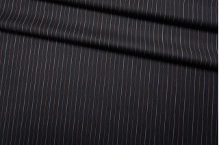 Тонкая костюмно-плательная шерсть черная в полоску SR-D4 23122022