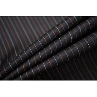 Тонкая костюмно-плательная шерсть черная в полоску SR.H-D4 23122022