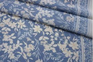 Креповая вискоза голубая цветочная LEO-Н6 23122043