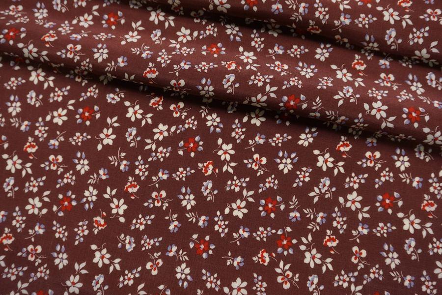 Креповая вискоза цветы на бордовом LEO.H-i50 23122045