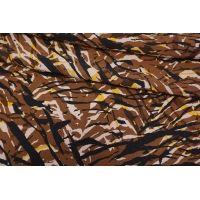 ОТРЕЗ 0,95 М Креповая вискоза полоски коричнево-желтые LEO-(43)- 20102049-1