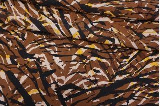 Креповая вискоза полоски коричнево-желтые LEO.H-H3 20102049