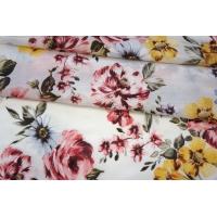 ОТРЕЗ 1,55 М Сатин блузочный хлопок с шелком цветочный PRT-(35)- 25022014-1
