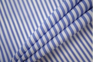 Поплин рубашечный в полоску бело-синий PRT-E4 07032001