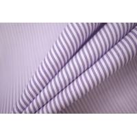 Поплин рубашечный в полоску бело-сиреневый PRT-G5 07032002