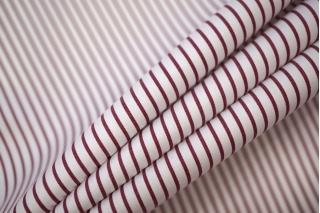 Поплин рубашечный в полоску бело-вишневый PRT-E4 07032007