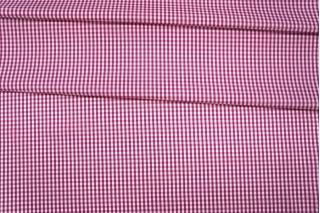 Поплин рубашечный в клетку бело-ягодный PRT-E4 07032017