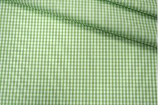 Поплин рубашечный в клетку бело-зеленую  PRT-E4 07032018