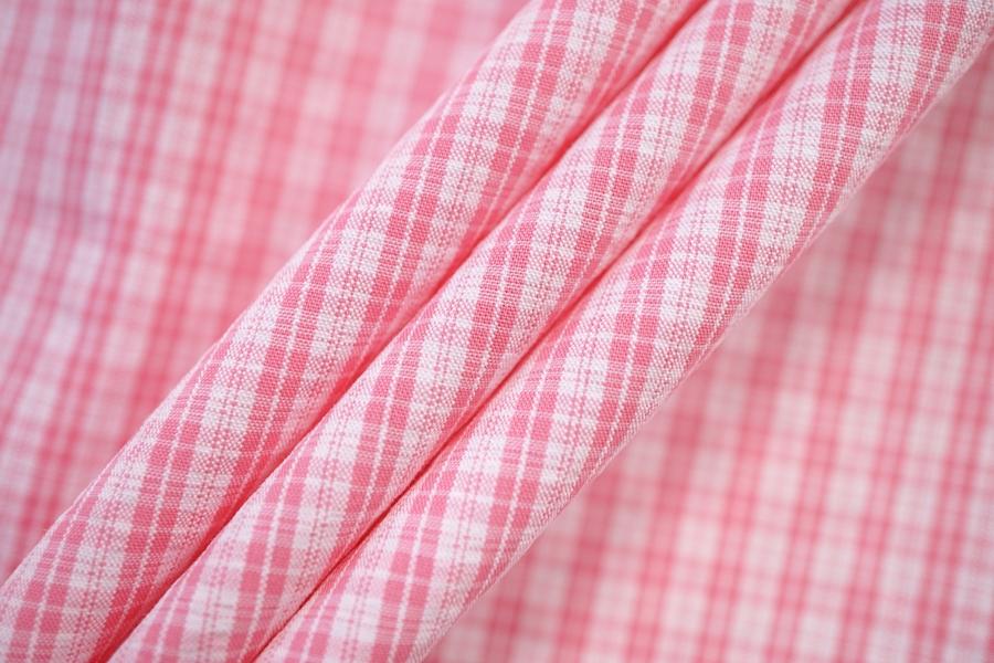 Хлопок рубашечный в клетку бело-розовую PRT-G4 07032021