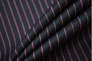 Костюмная шерсть Армани черная в розовую полоску PRT-Н2 16032014