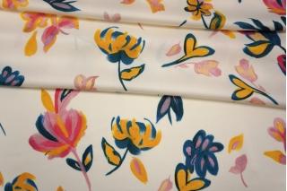 Плательный сатин вискозный цветы на молочном фоне PRT 18032002
