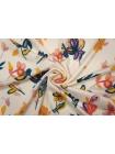 Плательный сатин вискозный цветы на молочном фоне PRT-H4 18032002