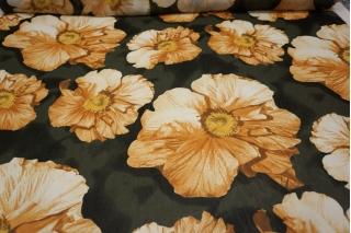 Шифон вискозный крупные цветы на темно-зеленом PRT-H3 18032008