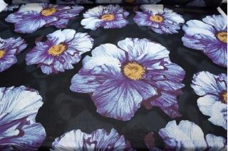 Шифон вискозный крупные цветы на черном PRT 18032009