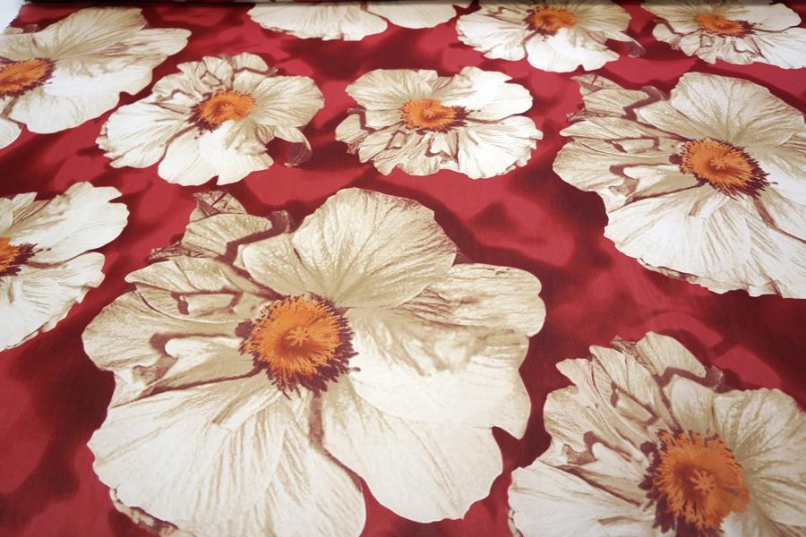 Шифон вискозный крупные цветы на вишневом PRT.H-H20 18032010