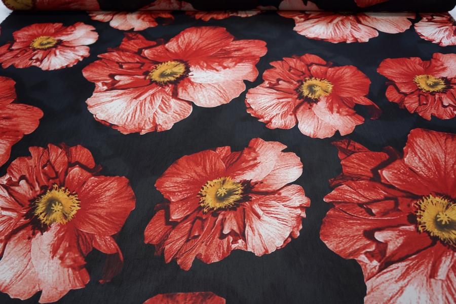 Шифон вискозный крупные цветы на черном PRT-H3 18032011