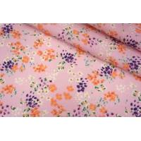 Плательный лен розовый цветочный PRT-H7 19032001