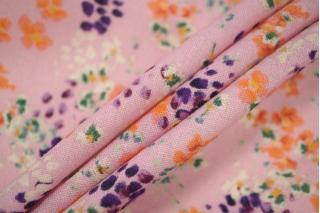Плательный лен розовый цветочный PRT-E6 19032001