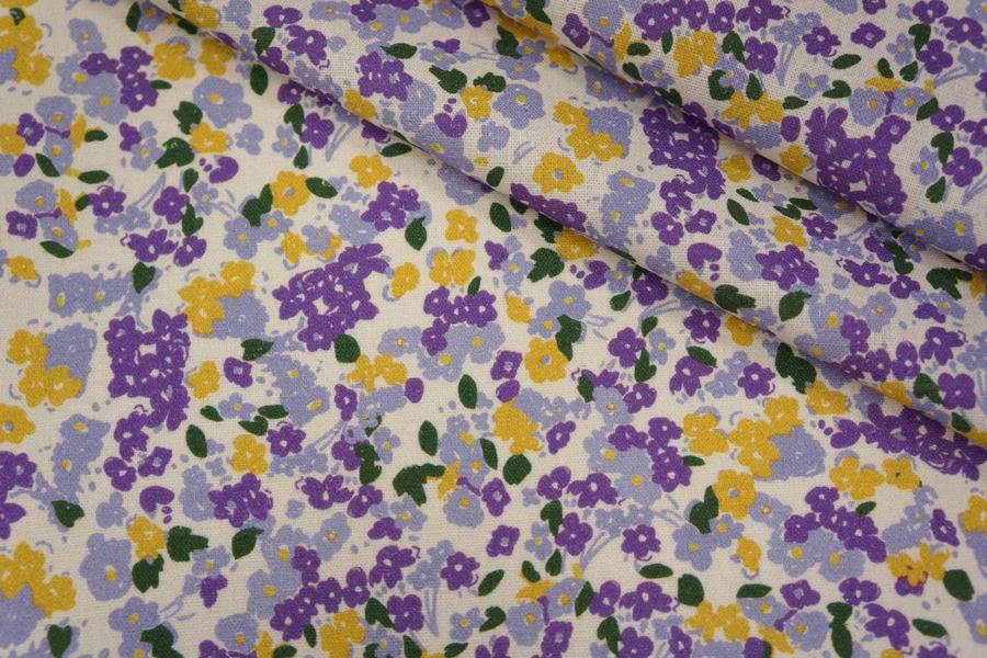 Плательный лен молочный цветочный PRT-H7 19032002