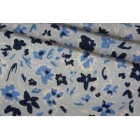 Плательный лен голубой цветочный PRT-E6 19032005