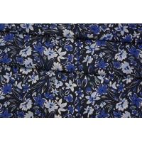 Плательный лен синий цветочный PRT-E6 19032007