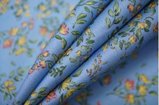 Хлопок органический цветы на голубом PRT 19032035