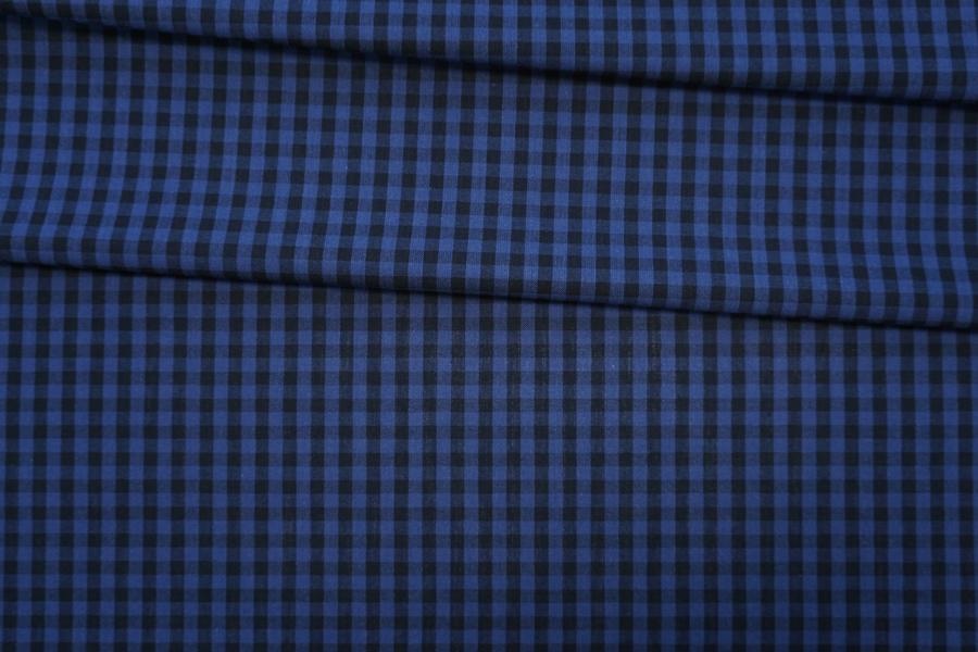 Хлопок рубашечный в клетку черно-синий PRT-G3 06052002