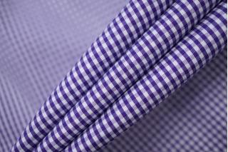 Хлопок рубашечный в клетку бело-фиолетовый PRT-E4 08052006
