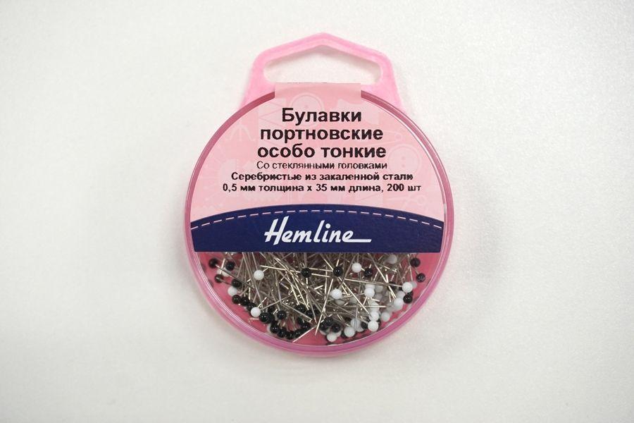 """Булавки портновские особо тонкие со стеклянными головками 200 шт """"Hemline"""" GL 675"""