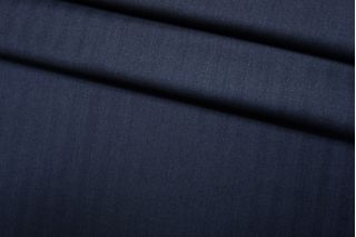 Тонкая костюмно-плательная шерсть темно-синяя елочка SR-D5 11012182