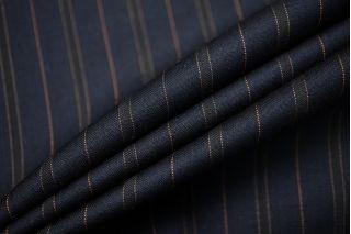 Тонкая костюмно-плательная шерсть темно-синяя в полоску SR-D4 11012183