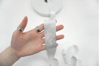 Эластичная резинка 3,5 см белая с серебряной нитью PRT-SH-C30 03062109