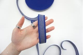 Тесьма-резинка 2,5 см синяя с бежевой нитью PRT-SH-C40 03062110