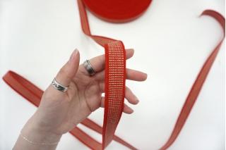 Тесьма-резинка 2,5 см красная с бежевой нитью PRT-SH-C40 03062111