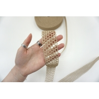 Ременная плетеная лента 4 см бежевая PRT 03062120