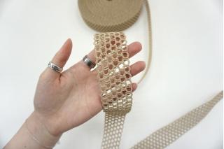 Ременная плетеная лента 4 см бежевая PRT-SH-C30 03062120