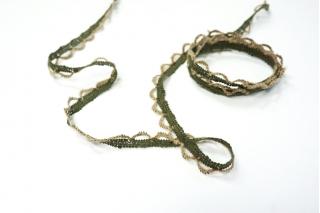 Кружево бежево-зеленое KR 18022118