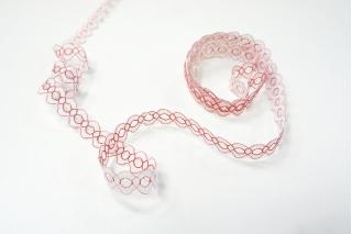 Кружево бело-красное KR 18022120