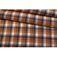 Лен костюмно-плательный в клетку оранжевый NST-H6 19022103