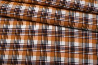 Лен костюмно-плательный в клетку оранжевый NST-E70 19022103