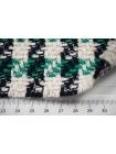 ОТРЕЗ 1,7 М  Твид-шанель черно-зелено-белый CVT-(15)- 25022109-1