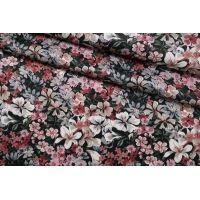 Плательная вискоза атласная цветы на черном CMF-H4 30012134