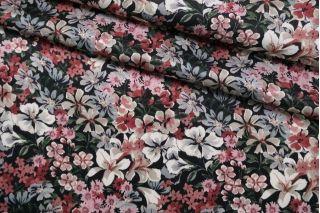 Плательная вискоза атласная цветы на черном CMF-H2 30012134